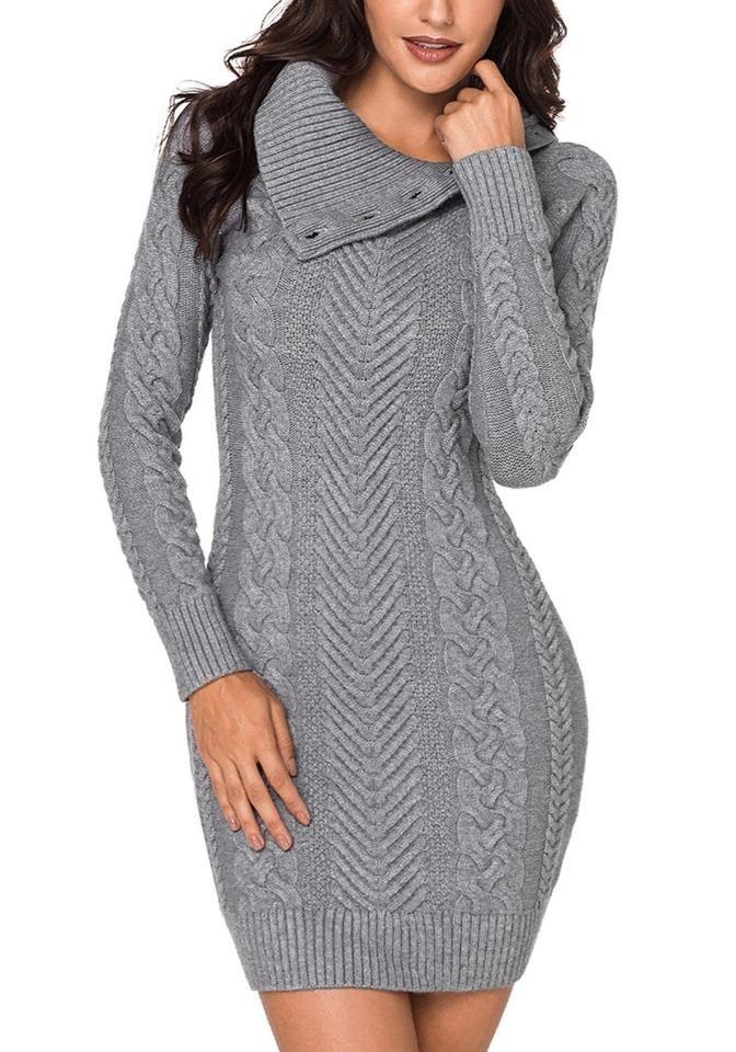 c954d0bdc7b Model poses wearing grey cable knit split cowl neck sweater dress
