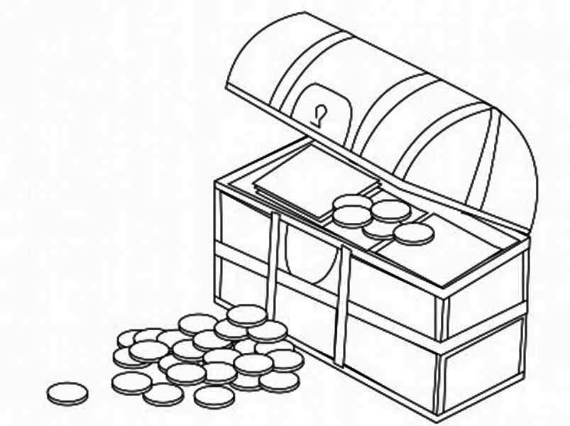 A Treasure Chest Filled With Gold Coin Coloring Page Kids Play Color Coloring Pages Gold Coins Treasure Chest