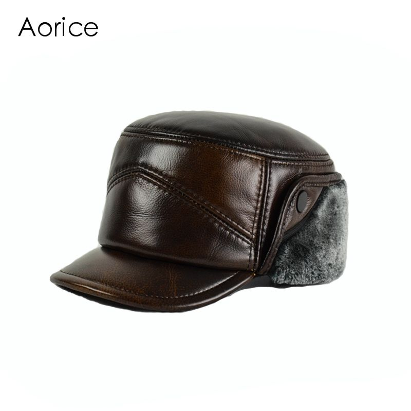 5075460b3a0 HL156-F Genuine leather baseball cap hat men s winter brand new real  leather hats caps with ear flap Faux fur inside