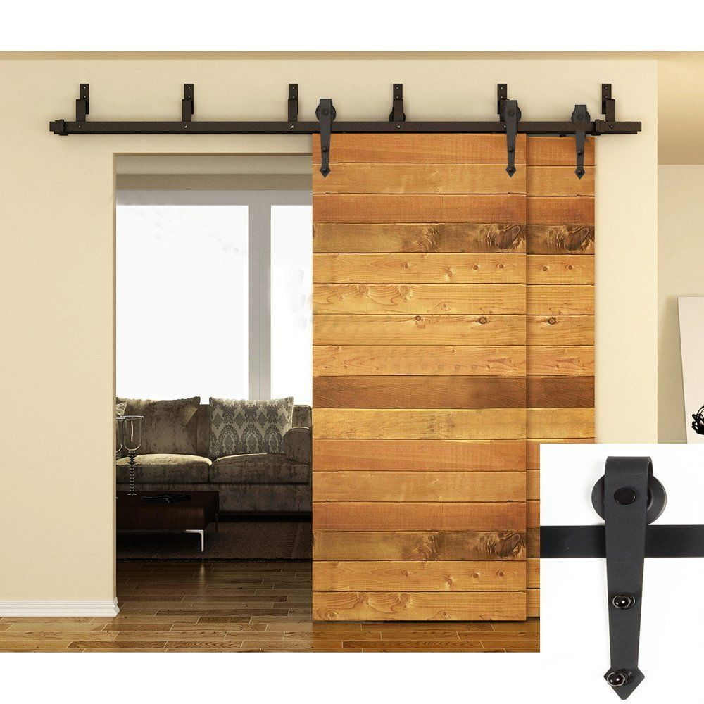 5 Ft 12 Ft Black Bypass Double Single Barn Wooden Door Hardware Sliding Set Trackmax Bypass Barn Door Barn Door Bypass Barn Door Hardware