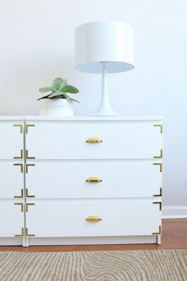 Kommode in Weiß und Gold DIY Ikea Hacks Ideen | Interior design ...
