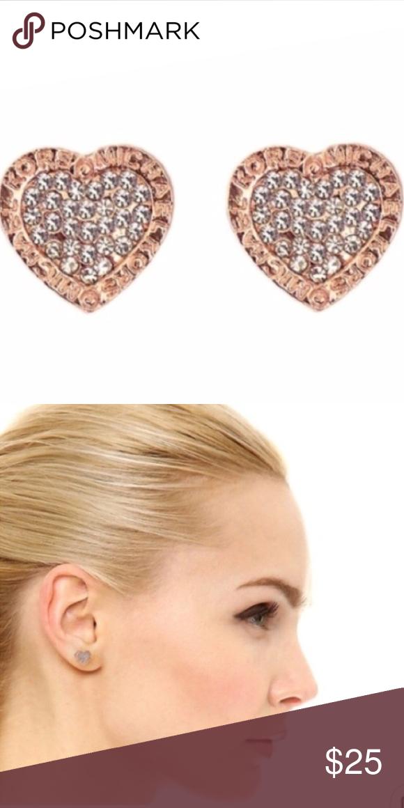 2066a055f8f24 💥LAST PAIR💥 Rose Gold Crystal Heart MK Earrings Rose Gold Heart Shaped Michael  Kors Stud Earrings Michael Kors Jewelry Earrings
