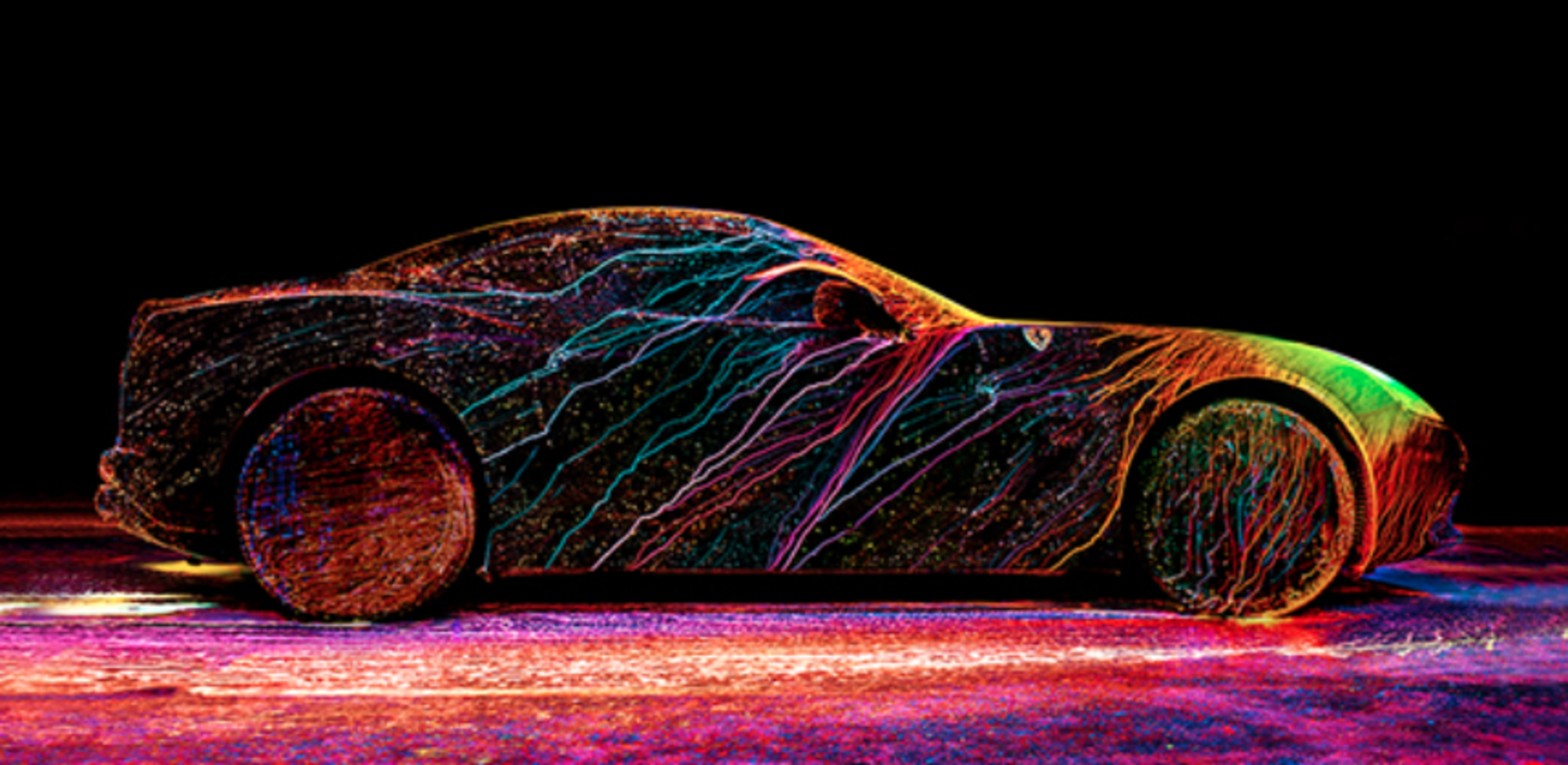 Ferrari + UV Paint + Wind Tunnel = AMAZING.