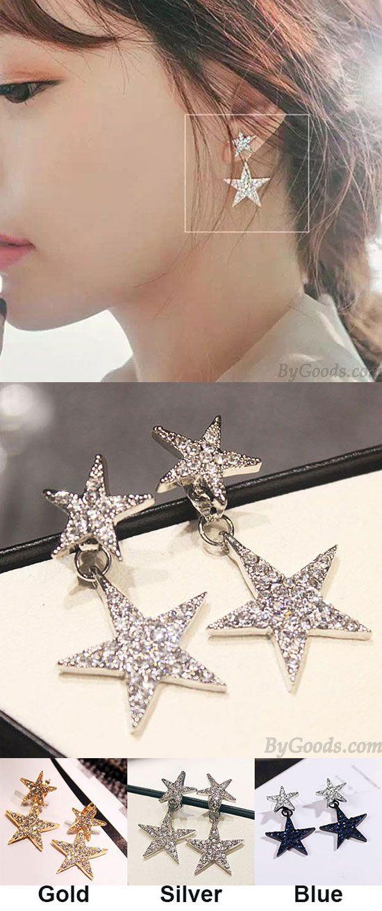 Cute Ear Drop Rhinestones Double Stars Women's Earring Studs for big sale ! #star #ear #cute #double #star #earring #studs #fashion