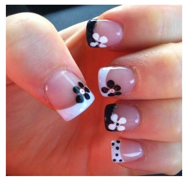 Pin by patricia houle on nail art pinterest easy nail art and black and white french tip flower nail art prinsesfo Image collections