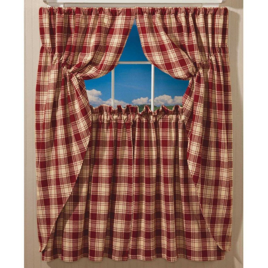 Red Plaid Curtains For Kitchen