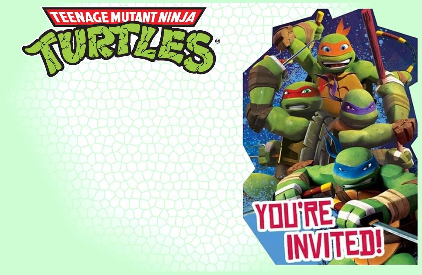 editable ninja turtle invitation