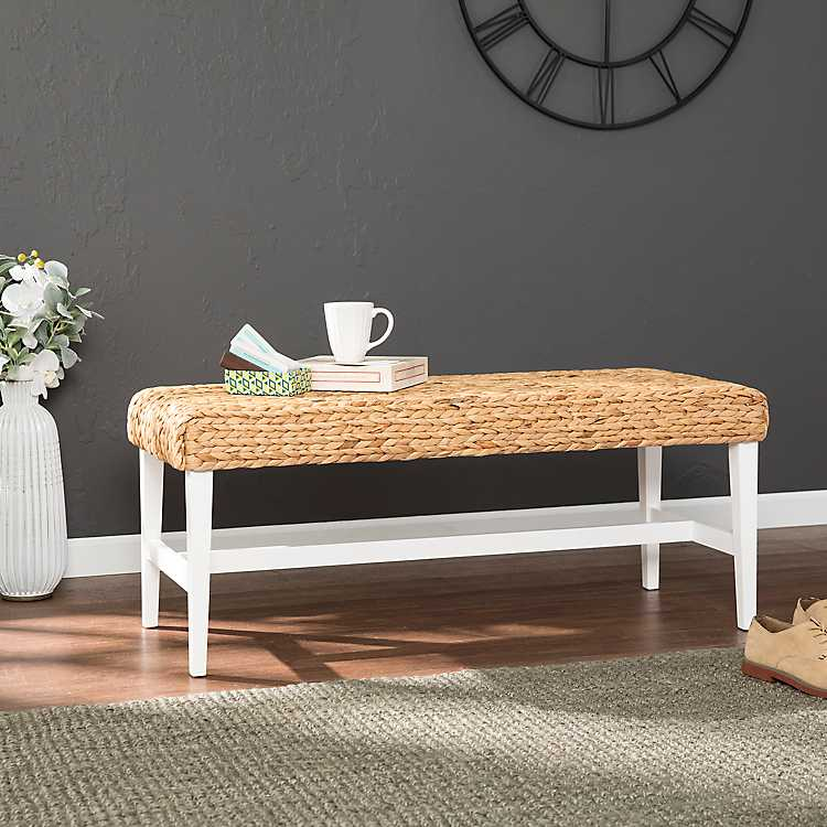 Wyatt Woven Hyacinth Bench With White Base In 2020 Coffee Table