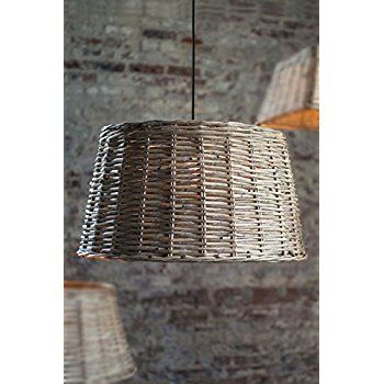 Vagabond Vintage, Large Round Handwoven Willow Pendant Shade in Grey Wash - - Amazon.com