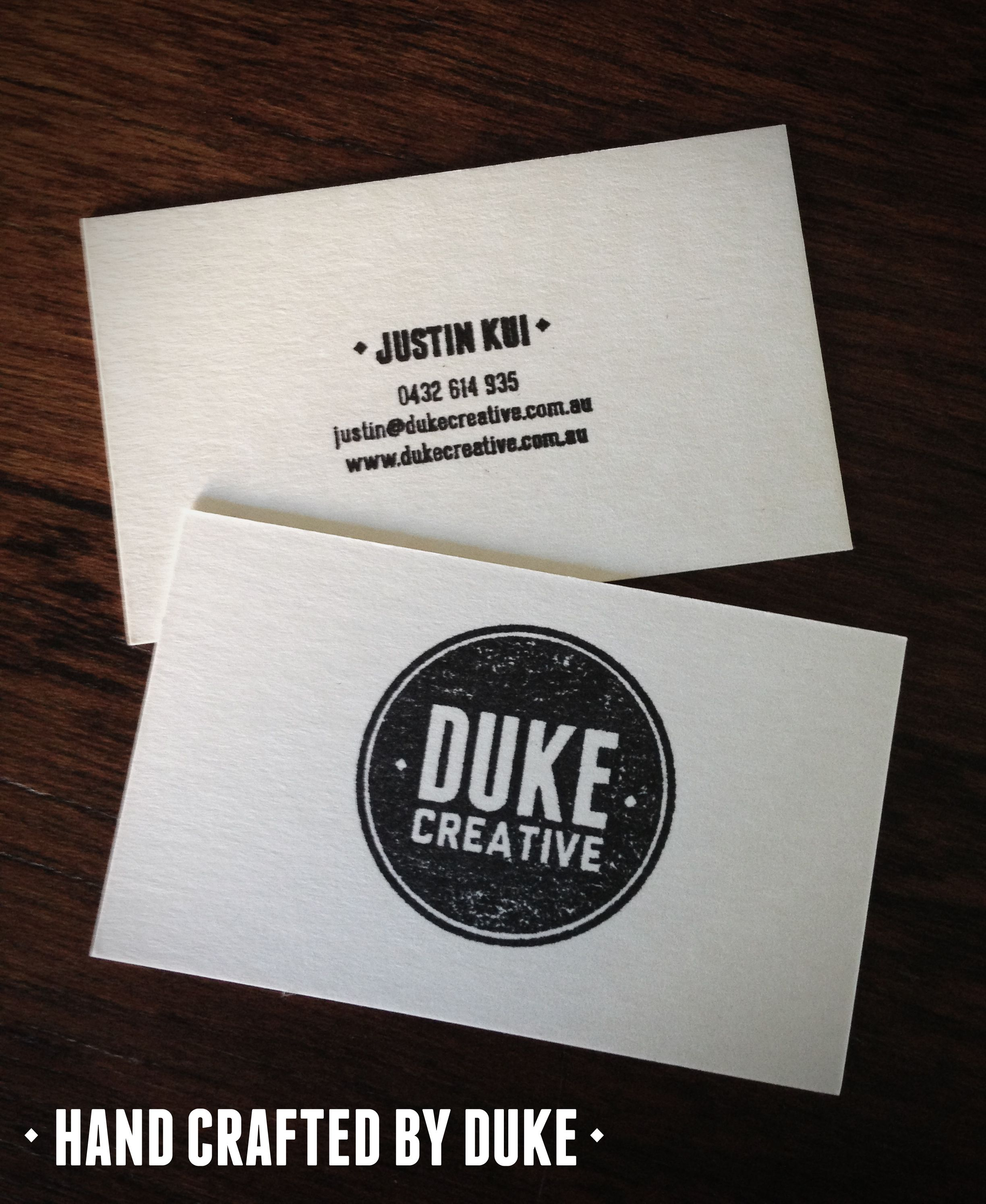Rubber stamp business cards, on beer mat stock by Duke Creative ...