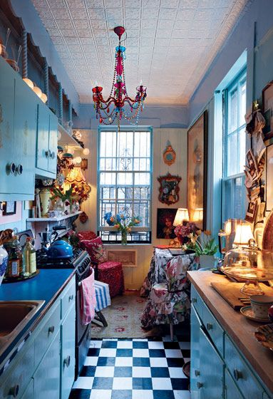 the kitchen was meant to evoke an Alice-down-the-rabbit-hole feel
