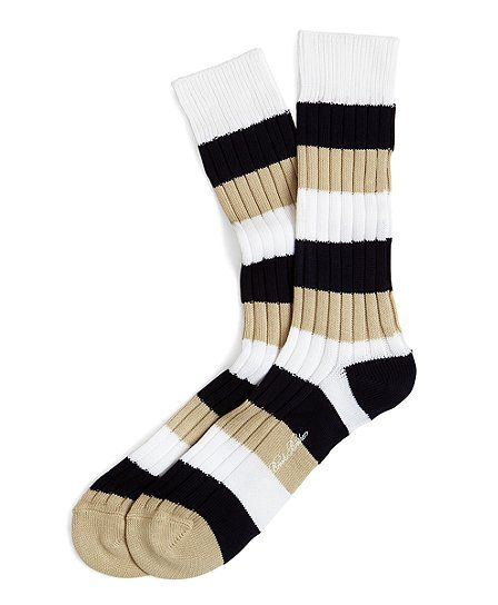 Brooks Brothers socks in navy, khaki and white.