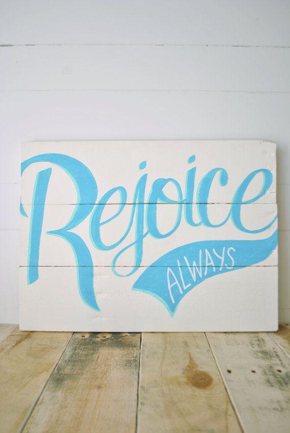 Rejoice Always Reclaimed Wood HandPainted Wall by APieceofHeart, $45.00
