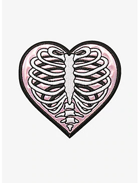 Loungefly Skeleton Rib Cage Iridescent Heart Patch Ribcage Tattoo Heart Patches Rib Tattoo