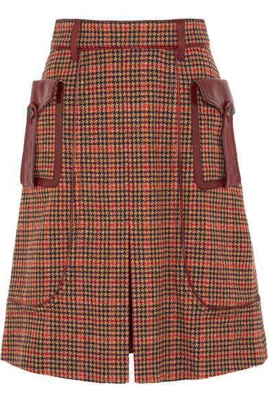 719259c919 Prada - Leather-trimmed Checked Wool-blend Tweed Skirt - Orange in ...