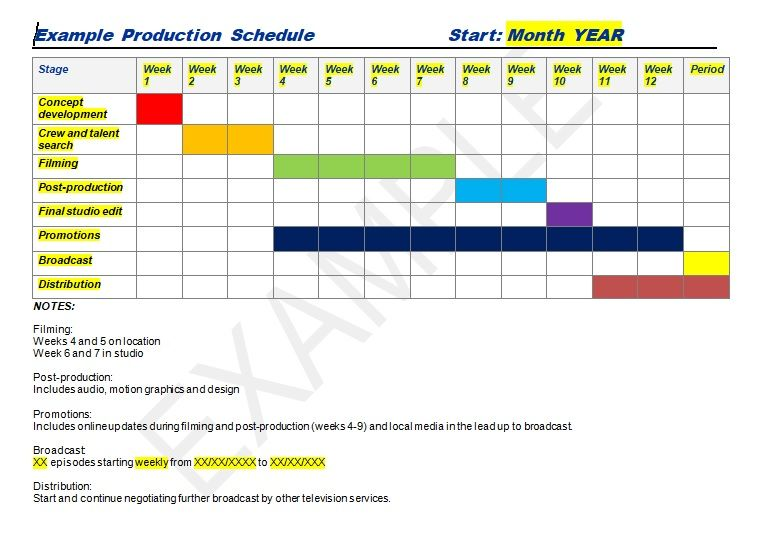 Production schedule template excel  word Management Templates - sample production schedule template