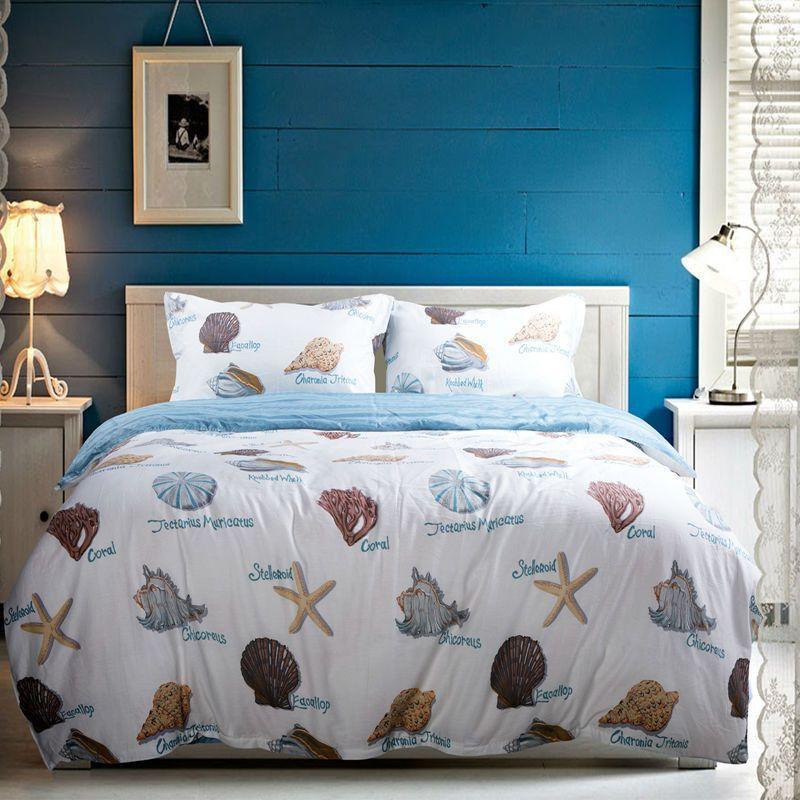 Starfish Seashells Bedding set 4pcs 100%cotton