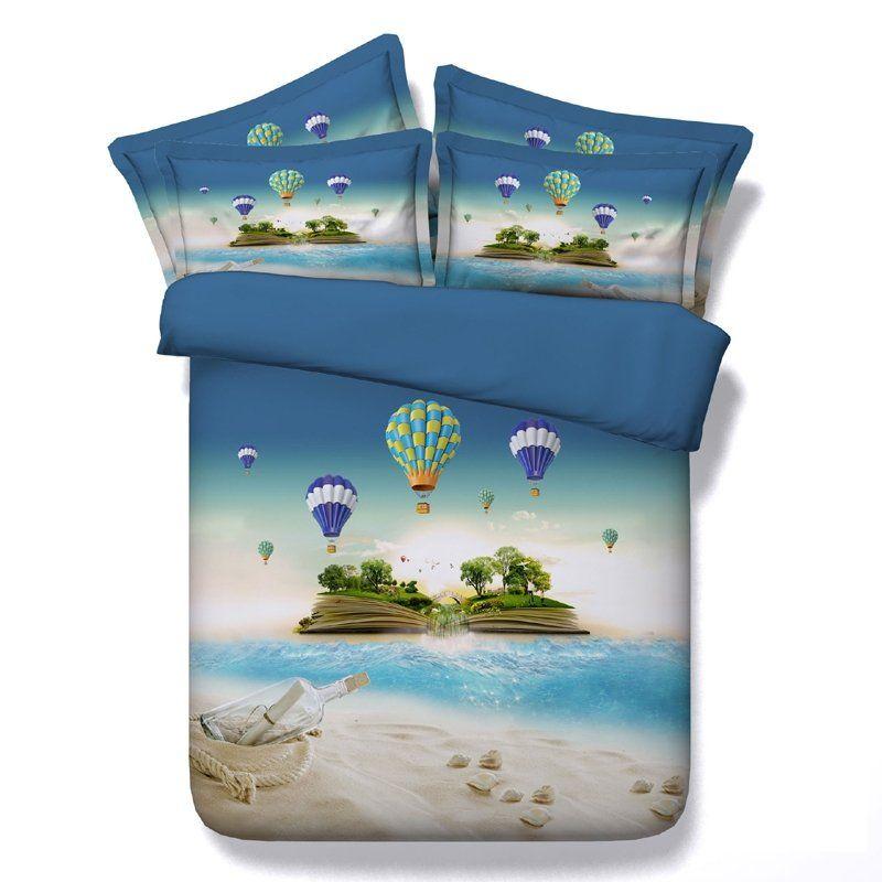 Vogue Blue Green And White Island Print Tropical Hawaiian Style