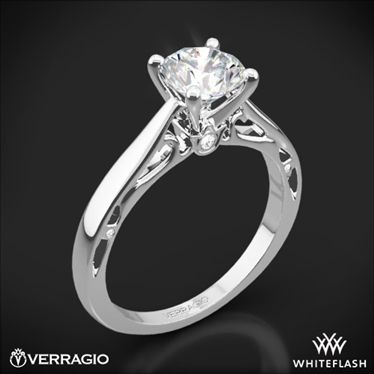 Platinum Verragio ENG-0409R Cathedral Solitaire Engagement Ring
