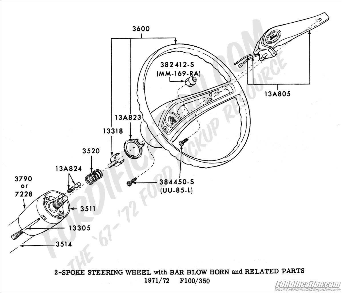 Ford Truck 2 Spoke Steering Wheel w/ Bar Blow Horn 1971
