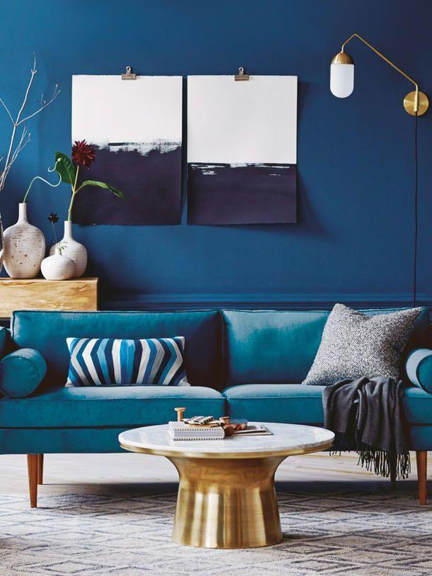 Neue Eleganz mit Blau- und Braunstich | Blaue wohnzimmer ...
