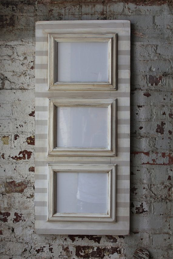 3 Opening 8x10 Distressed Stripe Frame in Popular Gray and White ...