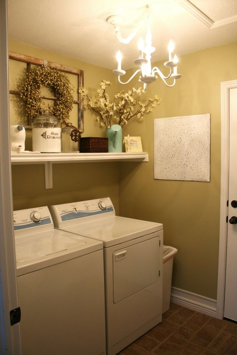 Small White and Yellow Basement Laundry Room Design with Modern ...