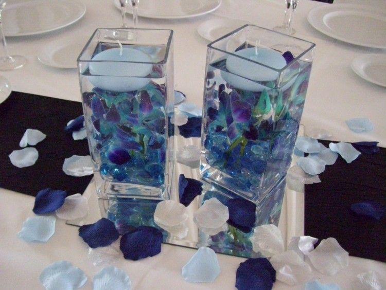 Deko Mit Schwimmenden Kerzen Und Blauen Orchideen Bluten Ideen