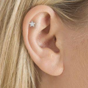 18k Large Diamond Star Ring Helix Piercing