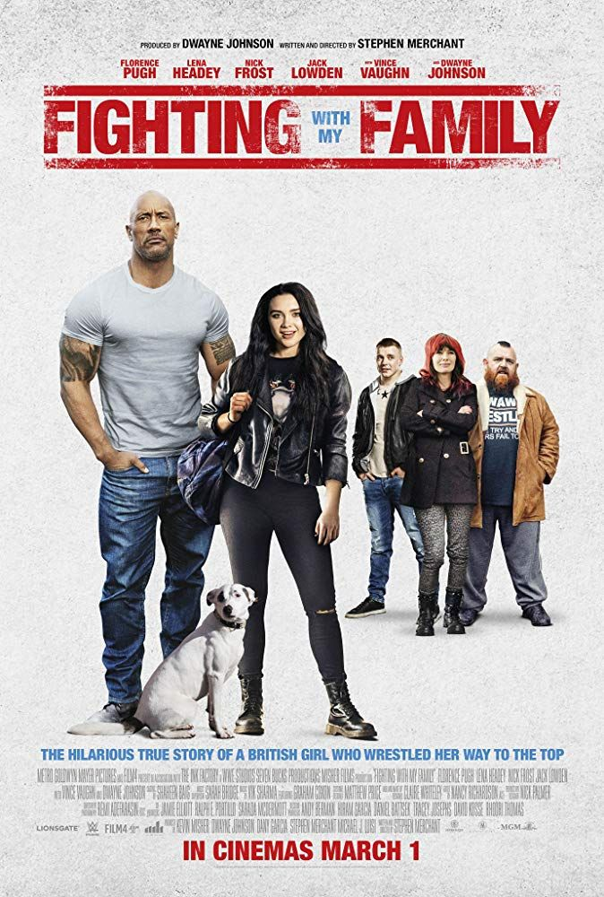 Nick Frost Lena Headey Dwayne Johnson Jack Lowden And Florence Pugh In Fighting With My Family 2019 Family Movies Free Movies Online Full Movies