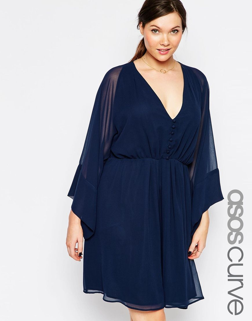 Asos curve asos curve us skater dress with deep plunge and