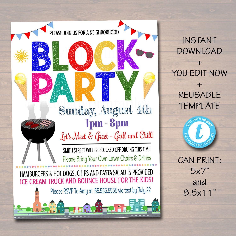 Editable Neighborhood Block Party Invite Printable Invitation Bbq Picnic Summer Party Block Party Invitations Party Invite Template Neighborhood Block Party Block party flyer template free