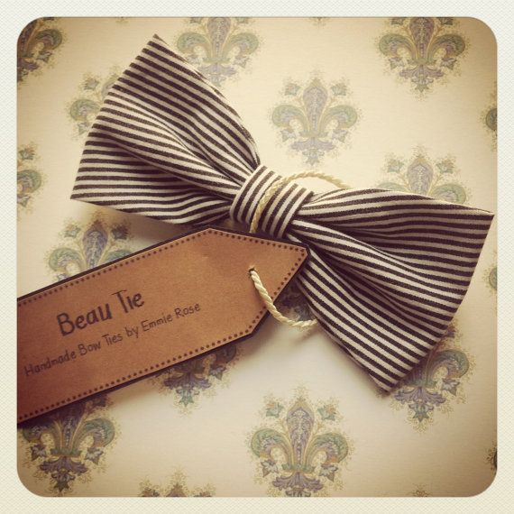 Womens bow tie stripey cotton  striped bow tie  by BeauBowTies, £20.00