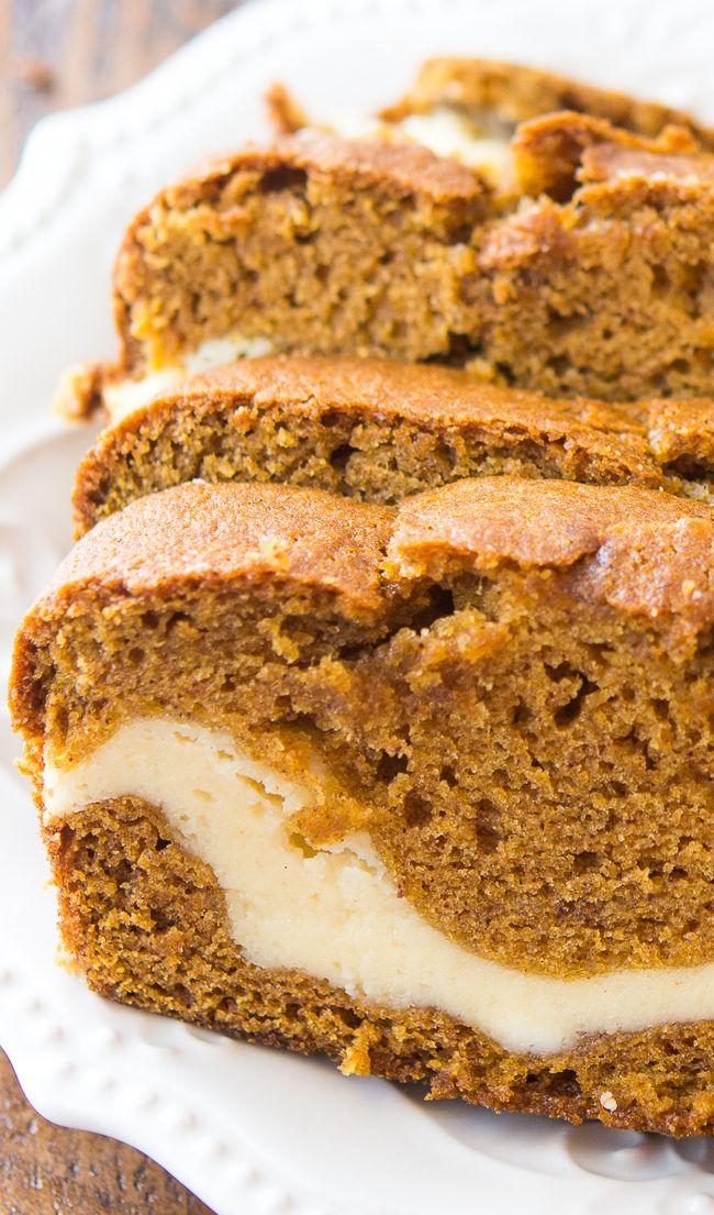 Cream Cheese Filled Pumpkin Bread - This delicious and moist pumpkin bread has a…