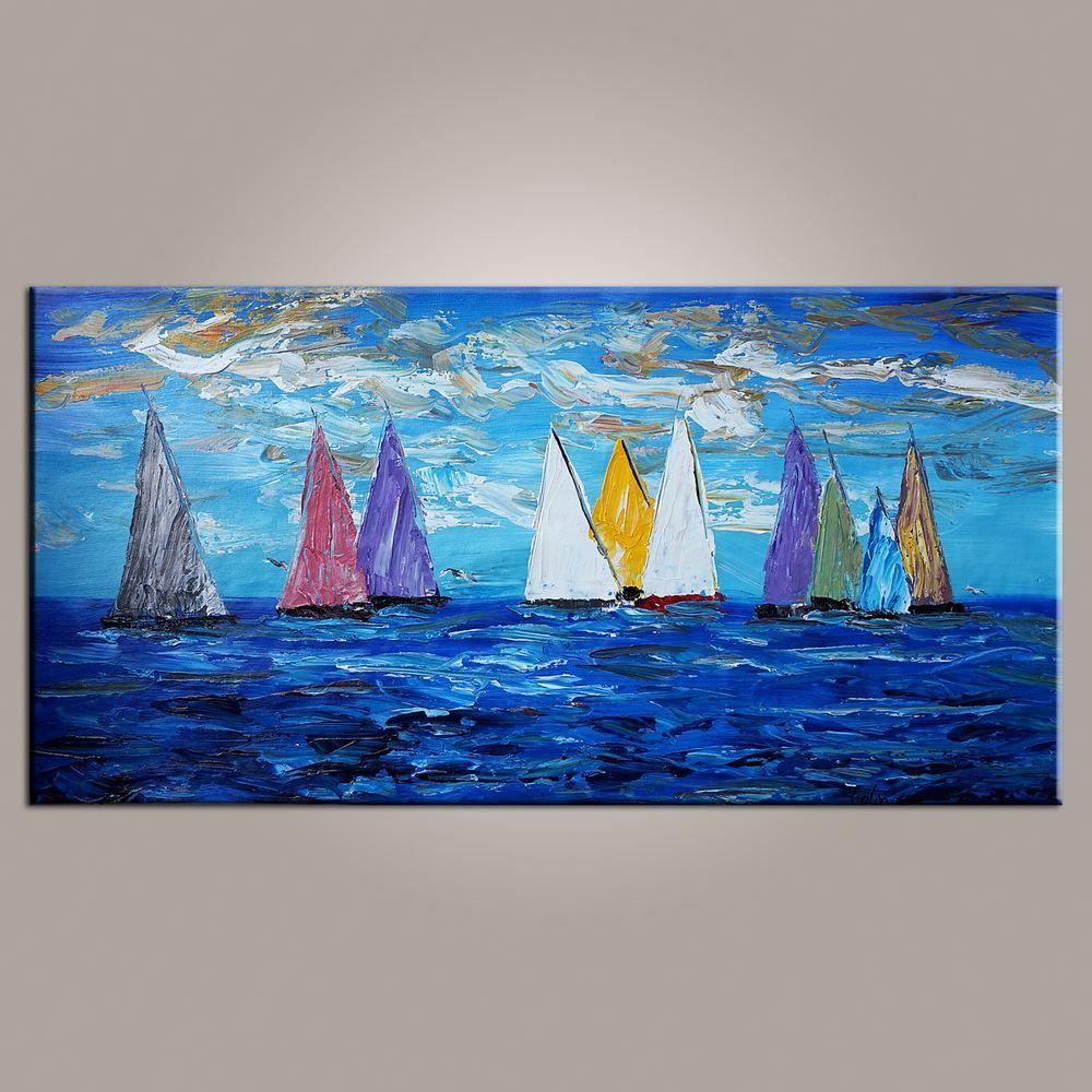 Original wall art sailing boat painting seascape painting wall art large artwork canvas painting modern art art on canvas 481