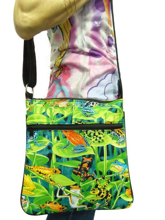 US handmade Cross Overbody bag Frogs Hawaiian Tropical Pattern Shoulder Bag handbag Purse Cotton Fabric, new, rare, on Etsy, $29.99