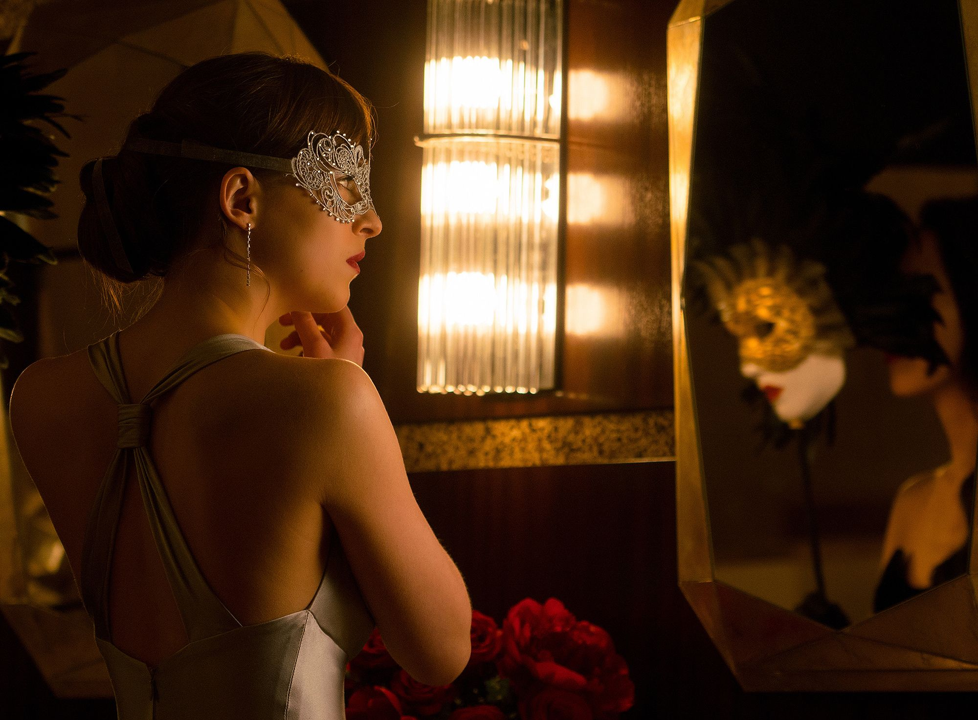 Go Inside Fifty Shades Darker S Masquerade Ball With Christian And