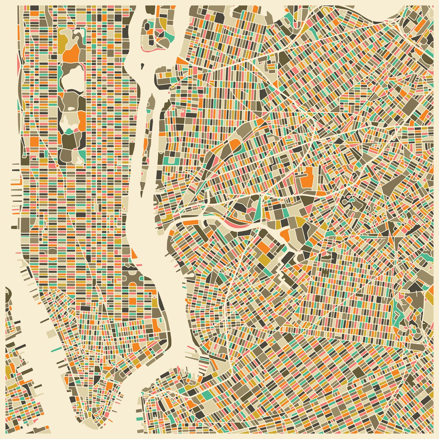 Abstract City Map of New York City Canvas Art by Jazzberry Blue ...