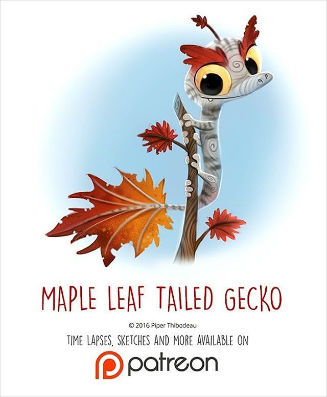 Daily Painting 1443. Maple Leaf-tailed Gecko illustration by  Piper Thibodeau