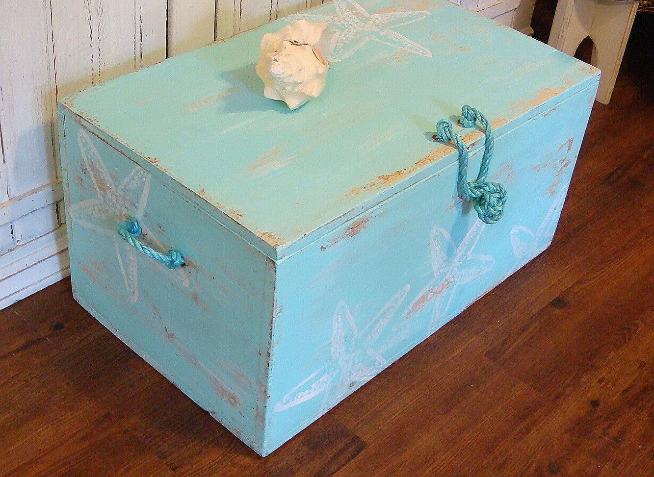 Trunk Blanket Box Starfish Treasure Chest In Seafoam