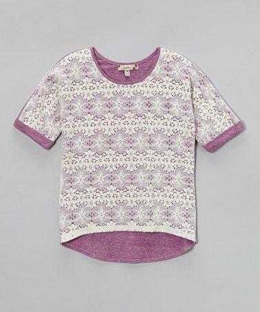 Purple & Ivory Crocheted Overlay Top - Girls by Speechless #zulily #zulilyfinds