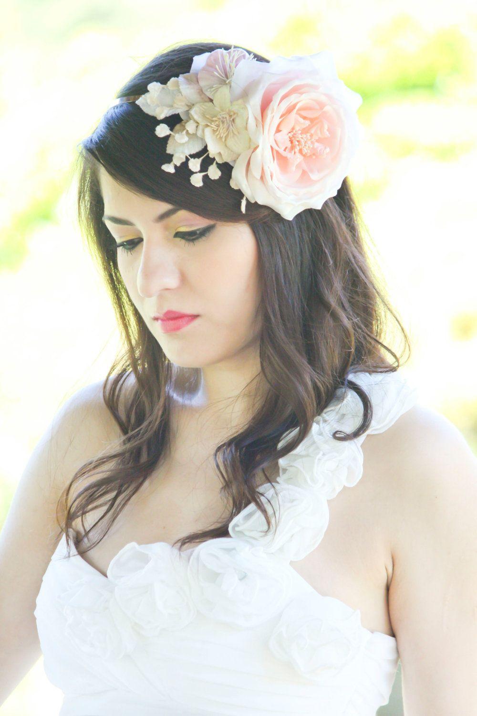 Bridal Hair Accessories Wedding Headpiece Pink Flower Fasinator