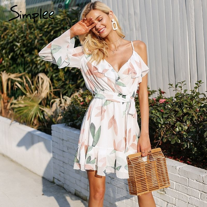 984d4cd291ff V neck print bohemian beach dress Irregular ruffles summer dress women 2018  Bandage elegant short dress