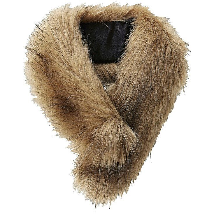 WOMEN CARINE FAUX SHEARLING SCARF, BROWN, large