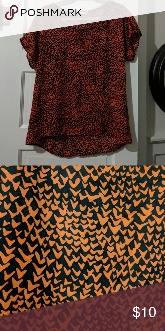f77dfdb3f26 Pleione blouse 3 for $25! Red / orange and black short sleeve blouse ...