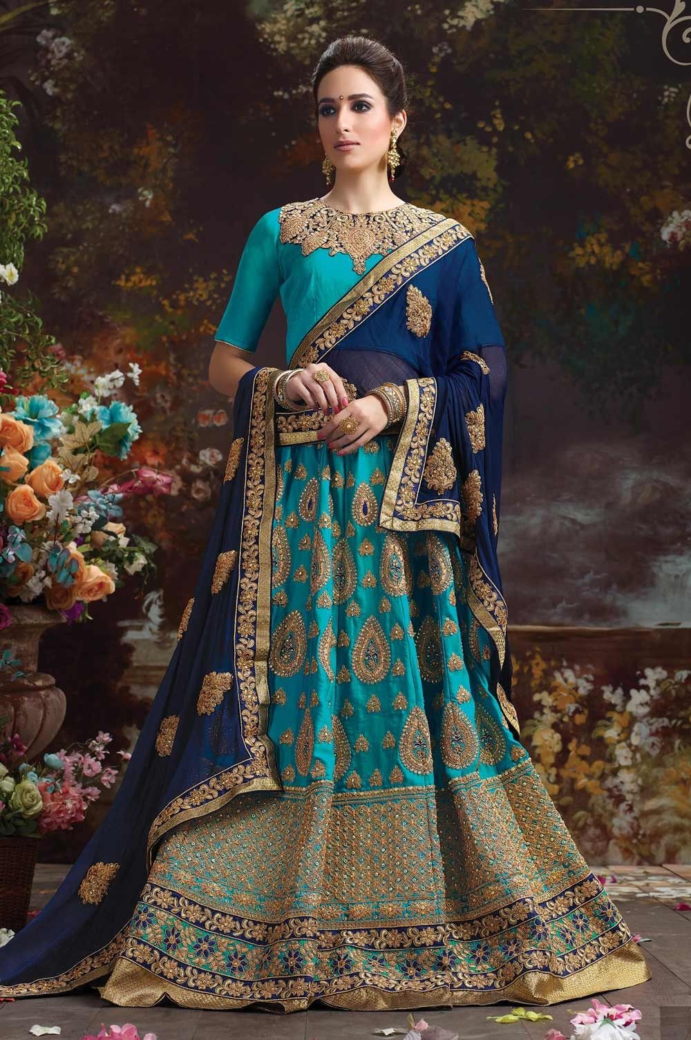 965082626d Turquoise wedding reception wear Indian latest lehenga choli with contast  blue dupatta