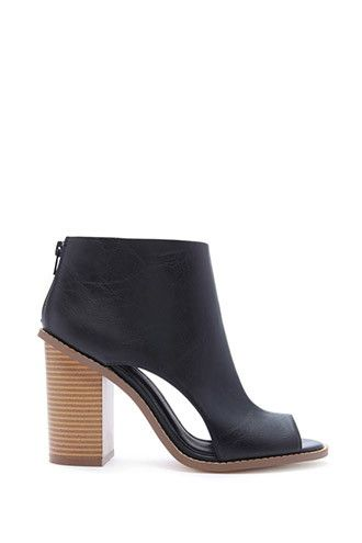 eb797ef971bd Cutout Faux Leather Booties