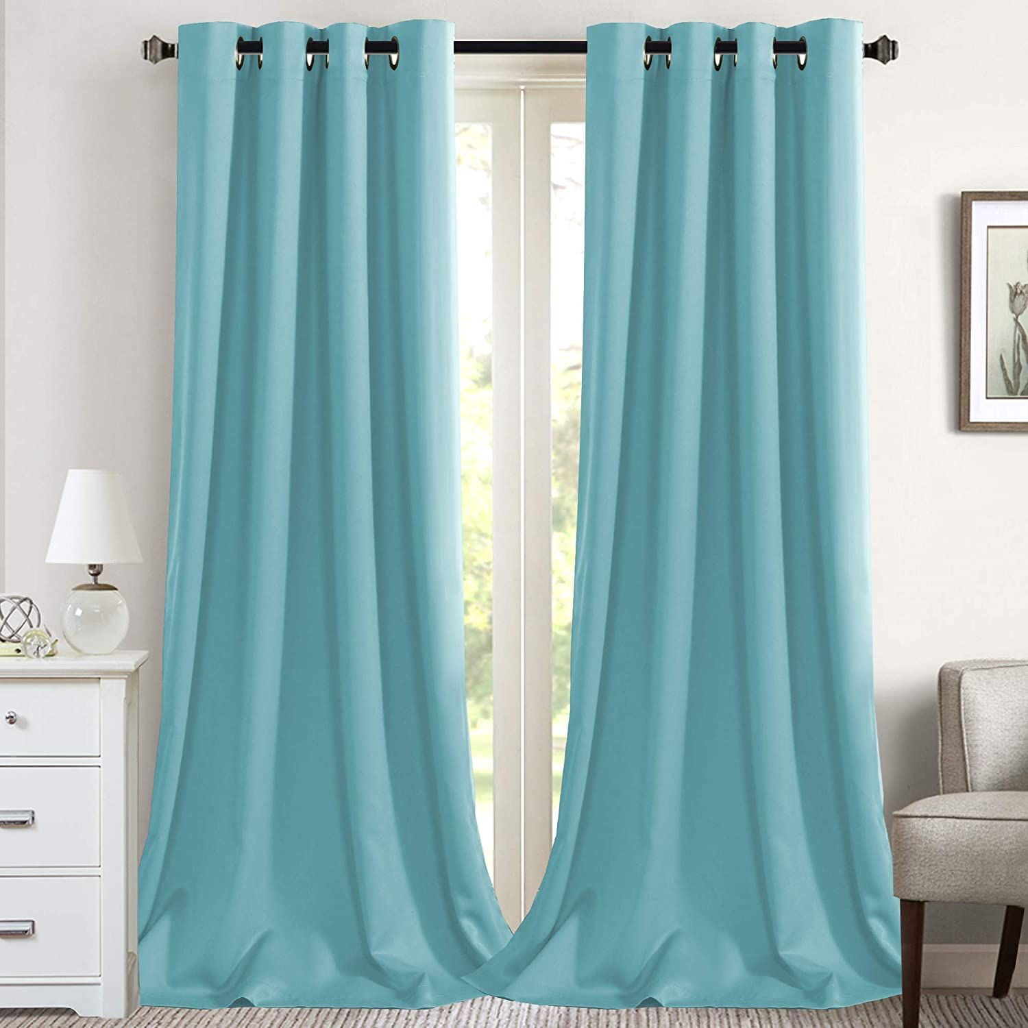 Aqua Blackout Thermal Curtains In 2020 Panel Curtains Curtains Light Blocking Curtains