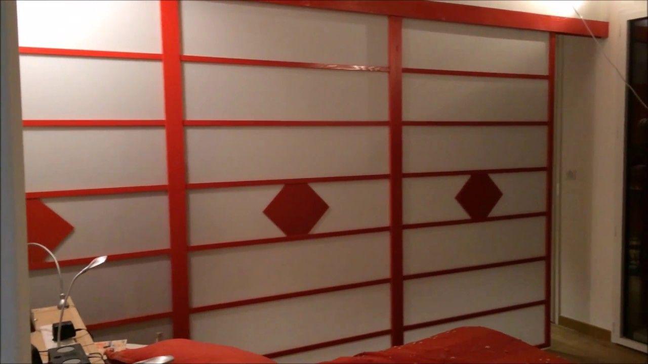 Montage de porte coulissante installation en galandage d 39 une tr s gran cloison japonaise - Montage de porte coulissante ...