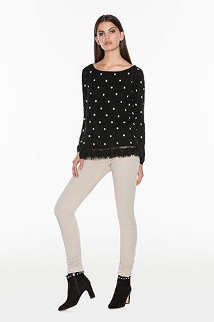 TWIN-SET Simona Barbieri :: FW15 :: Cardigans - Knitwear :: Polka Flounced Sweater :: PA53CC